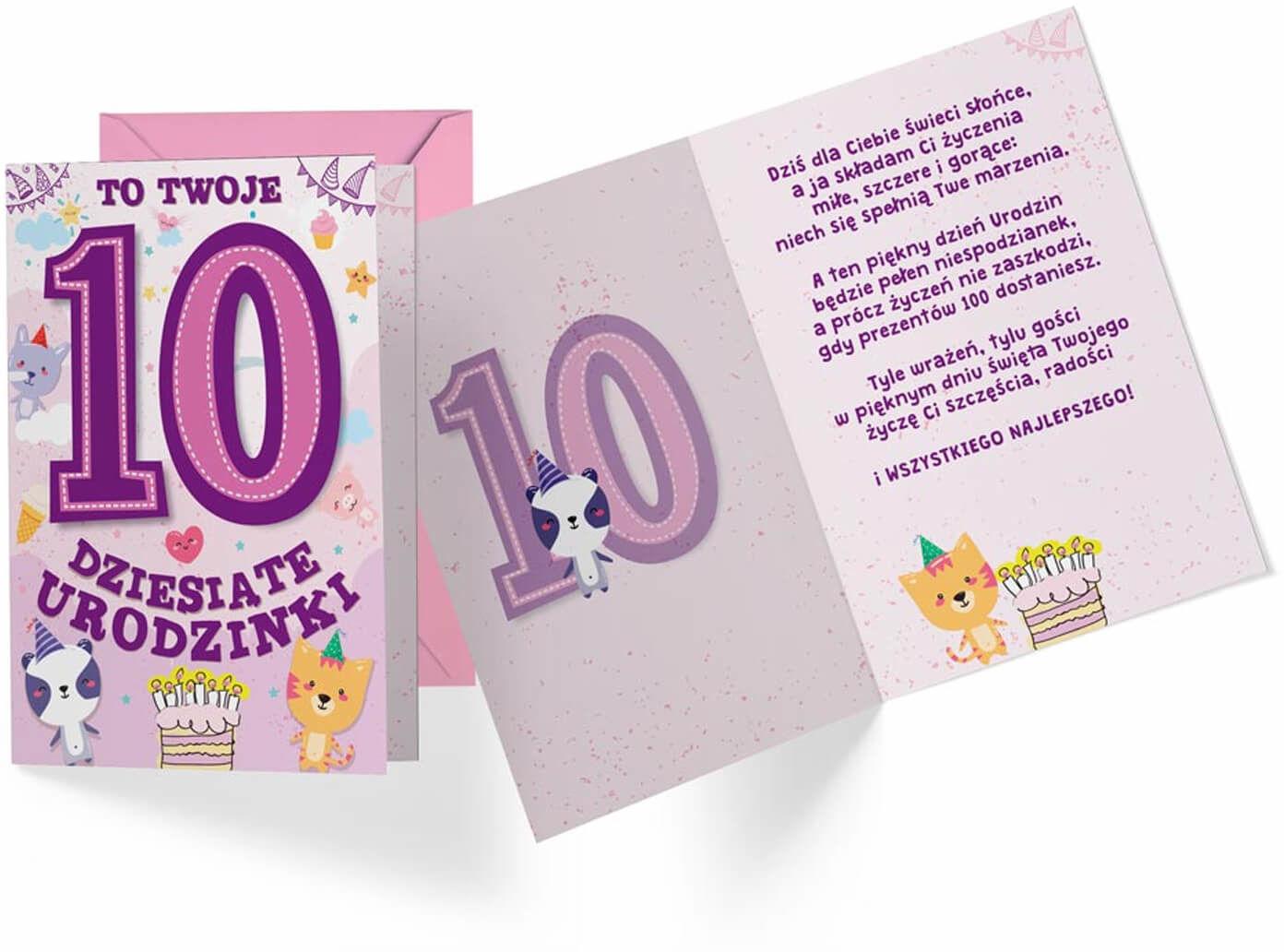 Kartka urodzinowa z kopertą na dziesiąte urodziny Zwierzątka - 1 szt.