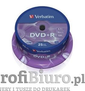 Płyty Verbatim DVD+R 4,7GB 16x - Cake Box - 25 szt. Matt Silver