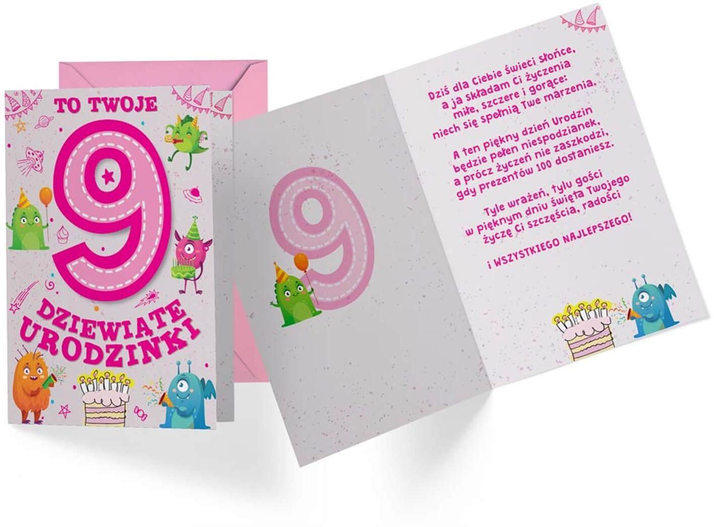 Kartka urodzinowa z kopertą na dziewiąte urodziny Potworki - 1 szt.