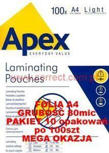 Folia A4 do laminowania błyszcząca 75/80 micronów APEX Fellowes SUPER CENA za 10szt OPAKOWAŃ