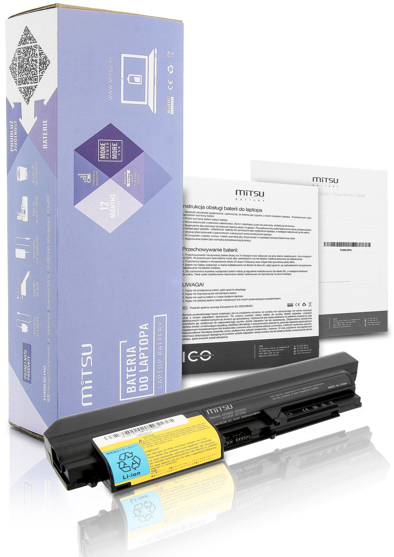 """Bateria IBM Lenovo R400 T400 14"""" T61 R61 4400mAh Mitsu"""