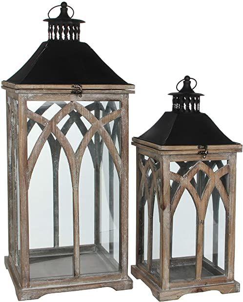 Mica decorations Latarnia, drewno, brązowa, dł. 30 x szer. 30 x wys. 72 cm