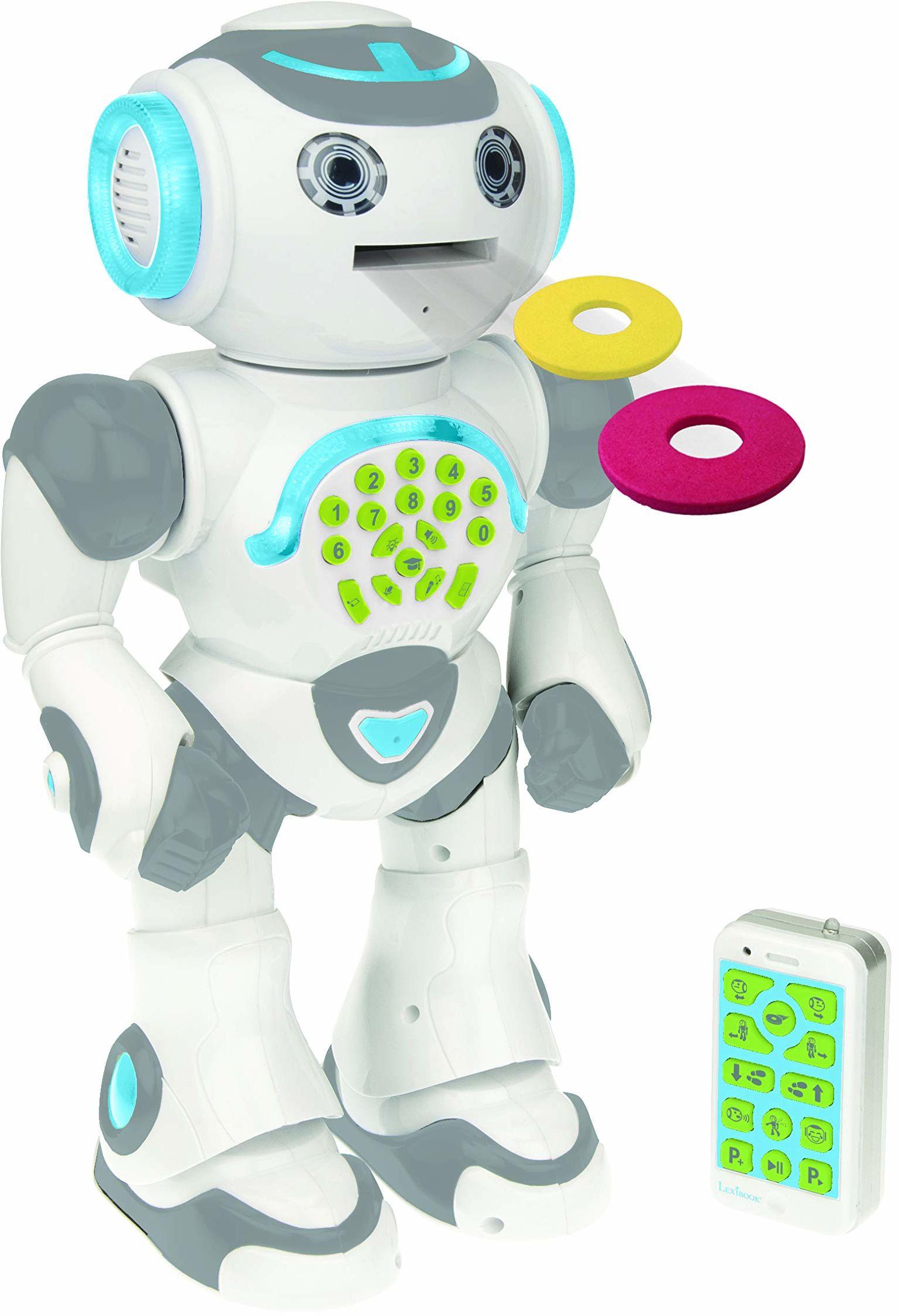 Lexibook ROB80FR Powerman Max-Robot éducatif programowalny Jouer apprendre-Jouet Pour garçons et Filles-Parle en français, Danse, Musique, STEM, raconte histoires, Lance des disques