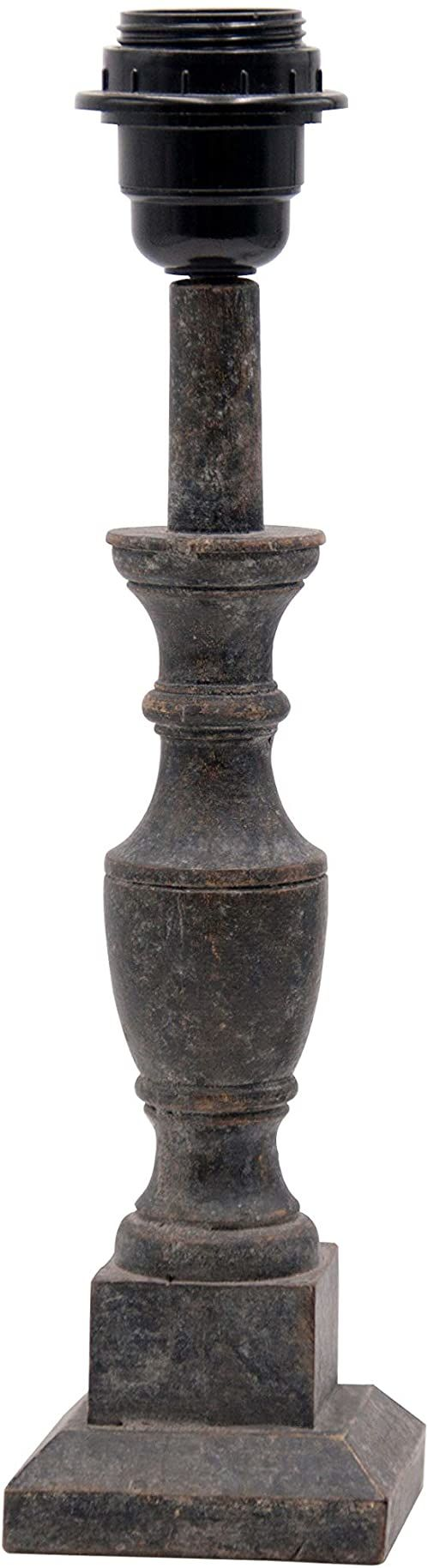 Lampa stołowa z drewna z kwadratową podstawą, czarna, 8 x 8 x 32 cm, materiał: drewno (referencja: 2971402)
