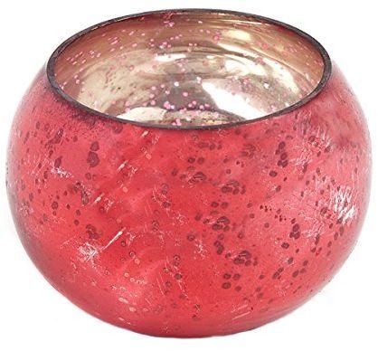 Insideretail Ślubne świeczniki na świecenia: Szkło rtęciowe okrągłe wotywy - czerwone - 6 cm x 6 cm, zestaw 48, czerwony, 6 x 5 x 6 cm