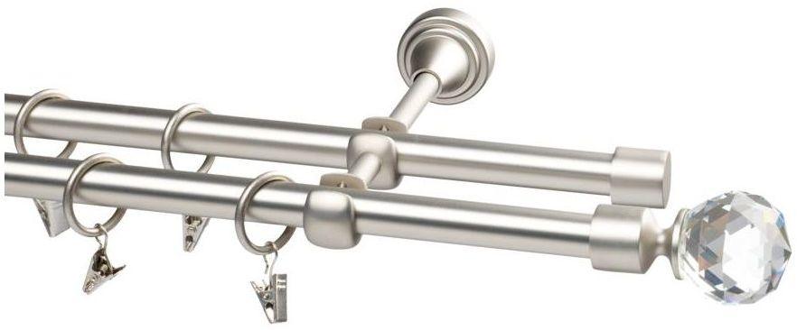 Karnisz PRADO KULA CRYSTAL 160 cm podwójny srebrny 19 mm metalowy