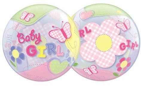 Qualatex 69729 Baby Girl Motyle pojedynczy balon lateksowy z bąbelkiem, 56 cm
