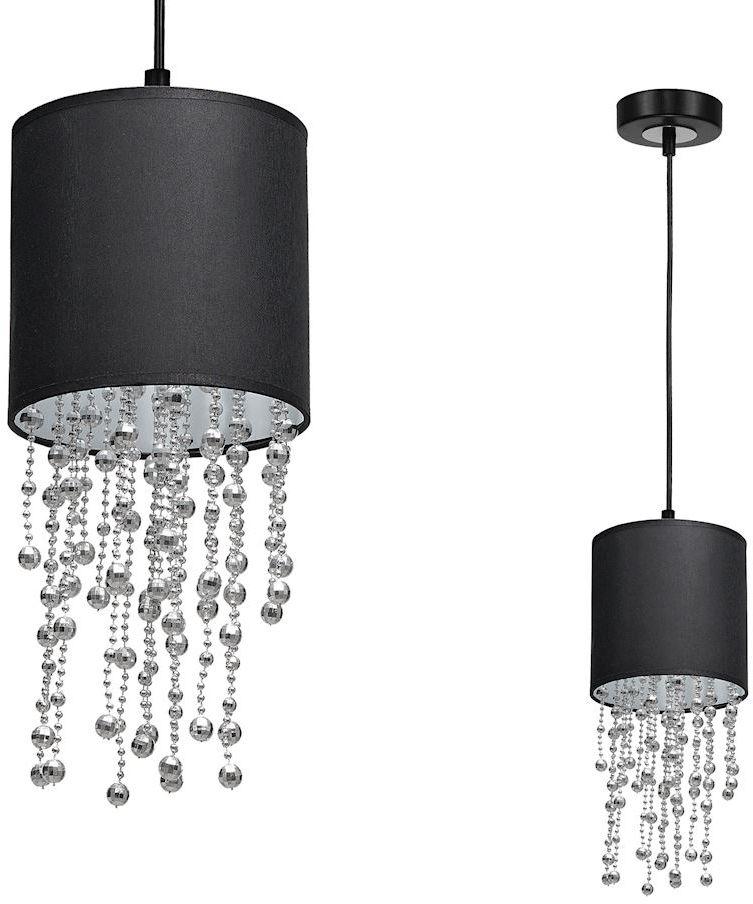 Milagro Almeria MLP6429 lampa wisząca czarny abażur kryształowe sznurki 1xE27 15cm