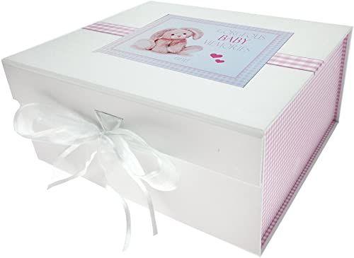 Białe bawełniane kartki nowe dziecko, małe pudełko na pamiątkę, różowy królik, tablica, 20 x 23 x 10,7 cm