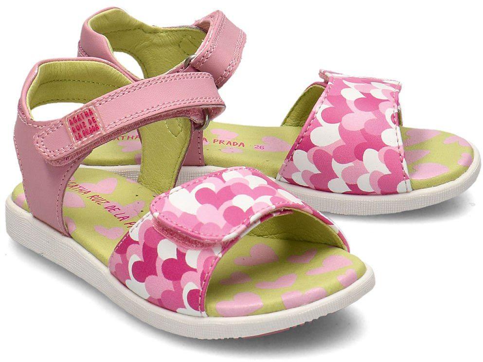 Agatha - Sandały Dziecięce - 202943 B-BLANCO Y CORAZONES - Różowy