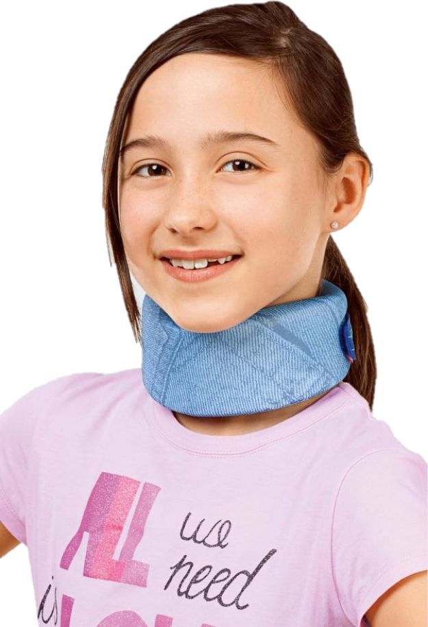 Dziecięcy kołnierz ortopedyczny stabilizujący odcinek szyjny kręgosłupa z funkcją rozgrzewania - wygoda noszenia, modny wzór (MEDI collar soft kidz)