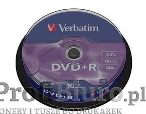 Płyty Verbatim DVD+R 4,7GB 16x - Cake Box - 10 szt.- Matt Silver