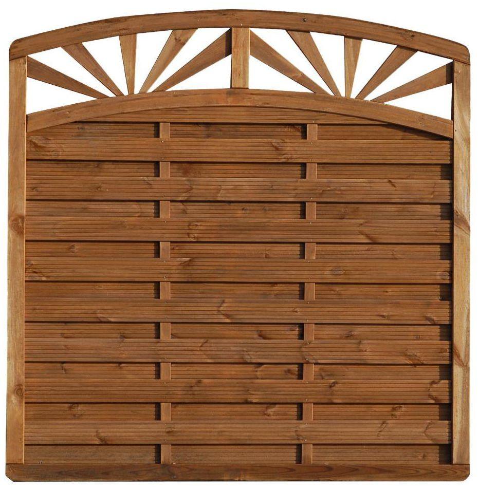 Płot szczelny z łukiem i dekorem 180x195 cm drewniany SUNRISE WERTH-HOLZ
