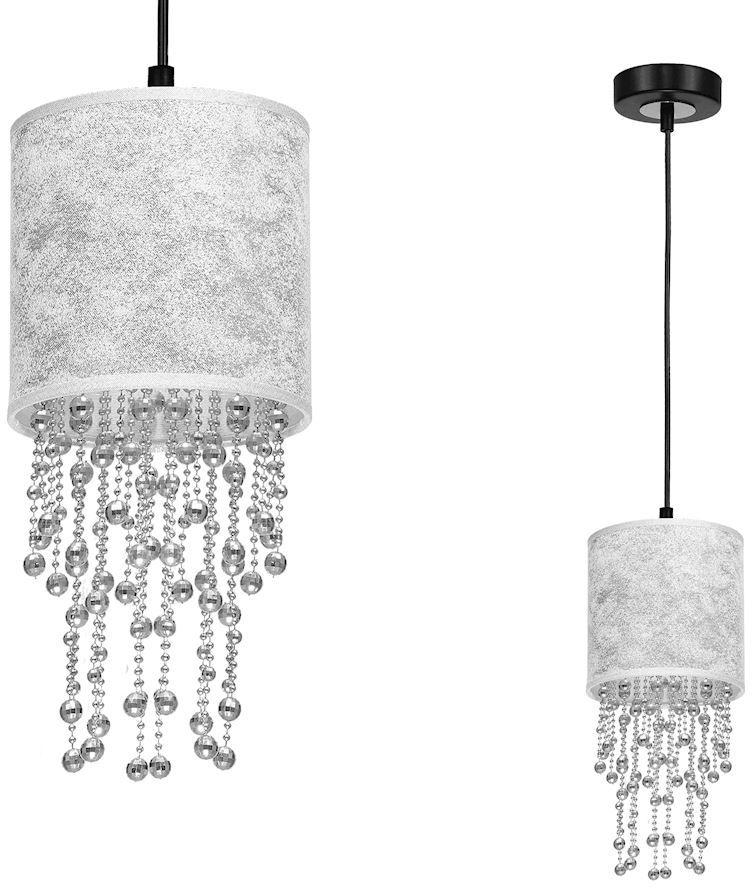 Milagro ALMERIA MLP6434 lampa wisząca srebrny abażur kryształowe sznurki 1xE27 15cm