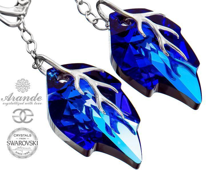 Kryształy ozdobne długie kolczyki BLUE LEAF SREBRO