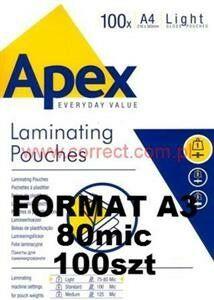 Folia A3 do laminowania błyszcząca 75/80 micronów APEX Fellowes