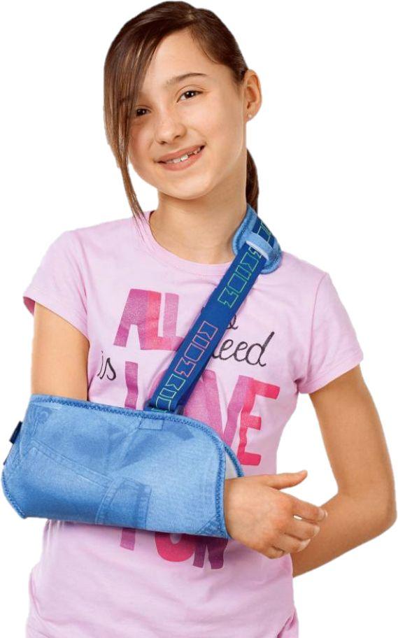 Dziecięcy temblak z odciążeniem na bark, ramię i łokieć - stabilizator stawu barkowo-obojczykowego w komfortowym wydaniu (MEDI armschlinge kidz)
