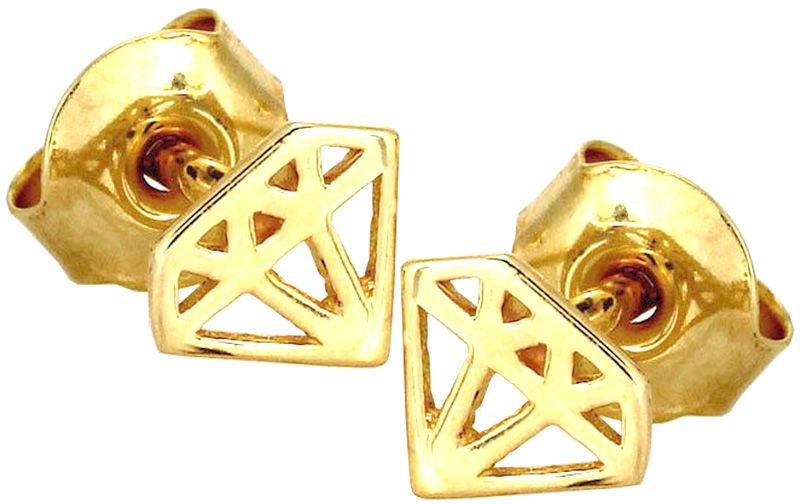 ZŁOTE KOLCZYKI 585 DIAMENCIKI NA SZTYFT CELEBRYTKI DIAMENT