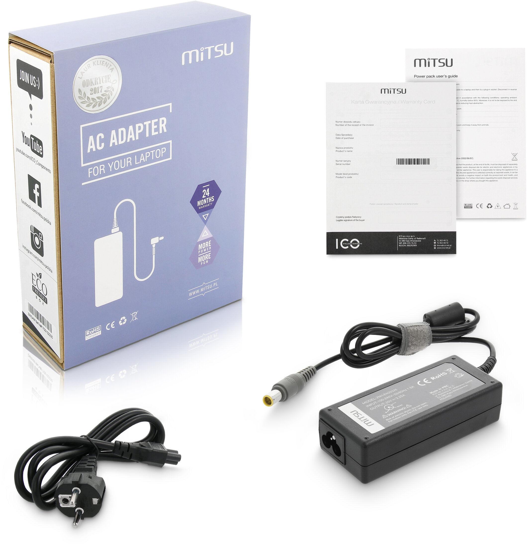 Zasilacz Mitsu 20v 3.25a (8.0x5.5 pin) Lenovo 3000 N200, 3000 V200,B590-59-362559, V480