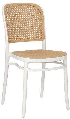 Białe krzesło z plecionki wiedeńskiej Antonio