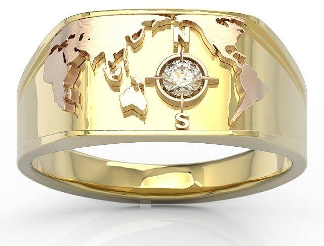 Sygnet morski z żółtego i różowego złota z brylantem sj-1410zp