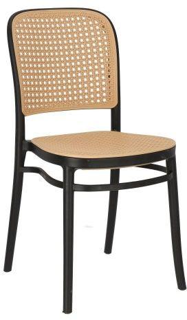 Czarne krzesło z plecionki wiedeńskiej Antonio