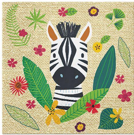 Serwetki dekoracyjne Zebra z listkami 33cm 20 sztuk SDL301100