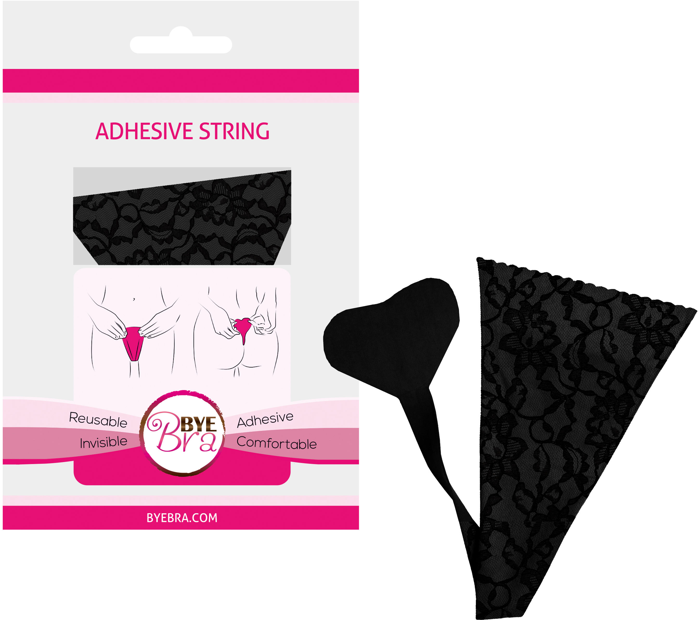 Bye Bra Adhesive String Lace Finish Black One Size