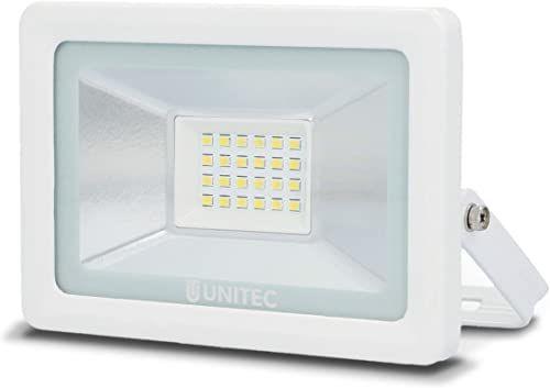 UNITEC reflektor LED 20 W, 1600 lumenów, z przyłączem kablowym z połączeniem wtykowym i uchwytem do szybkiego montażu, 6500 K, biały, IP65, odlew aluminiowy, szkło bezpieczne