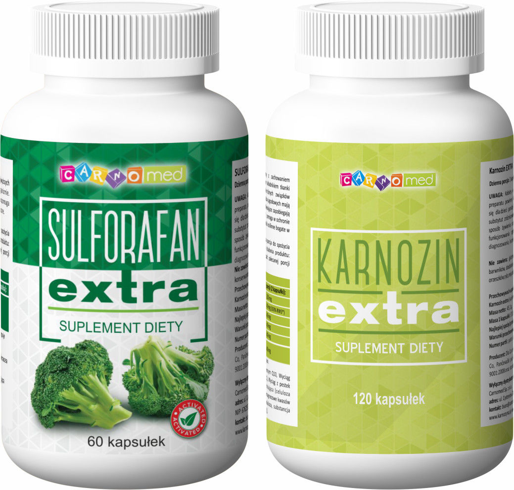 2pak - Karnozin extra (120 kaps) + Sulforafan extra (60 kaps)