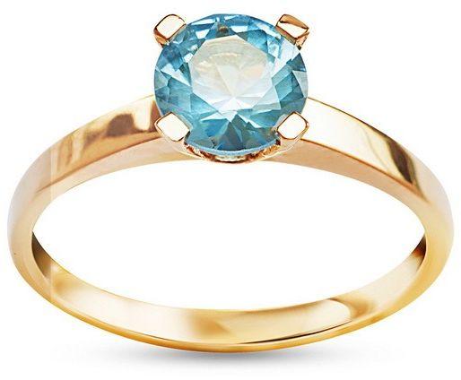 Pierścionek złoty 585 z błękitną cyrkonią