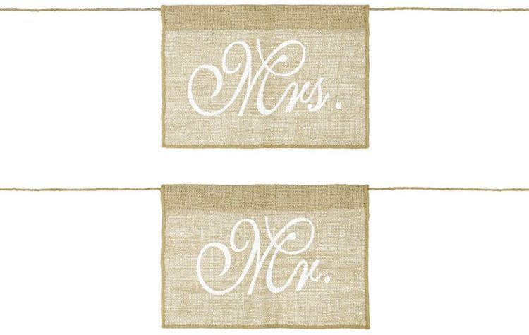Jutowe zawieszki na krzesła Mr i Mrs 2szt. ZNK3-008