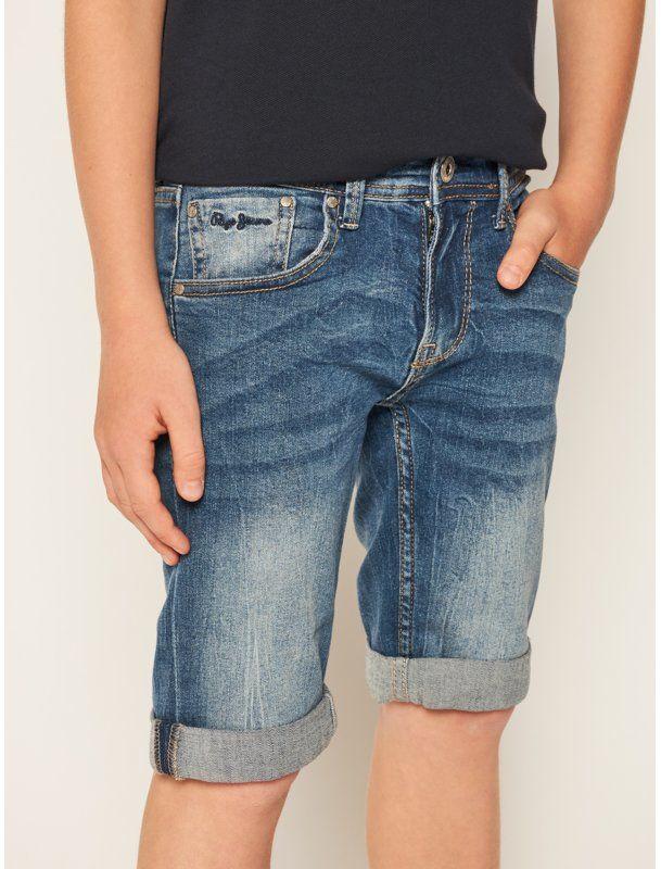 Pepe Jeans Szorty jeansowe Becket PB800134 Granatowy Slim Fit