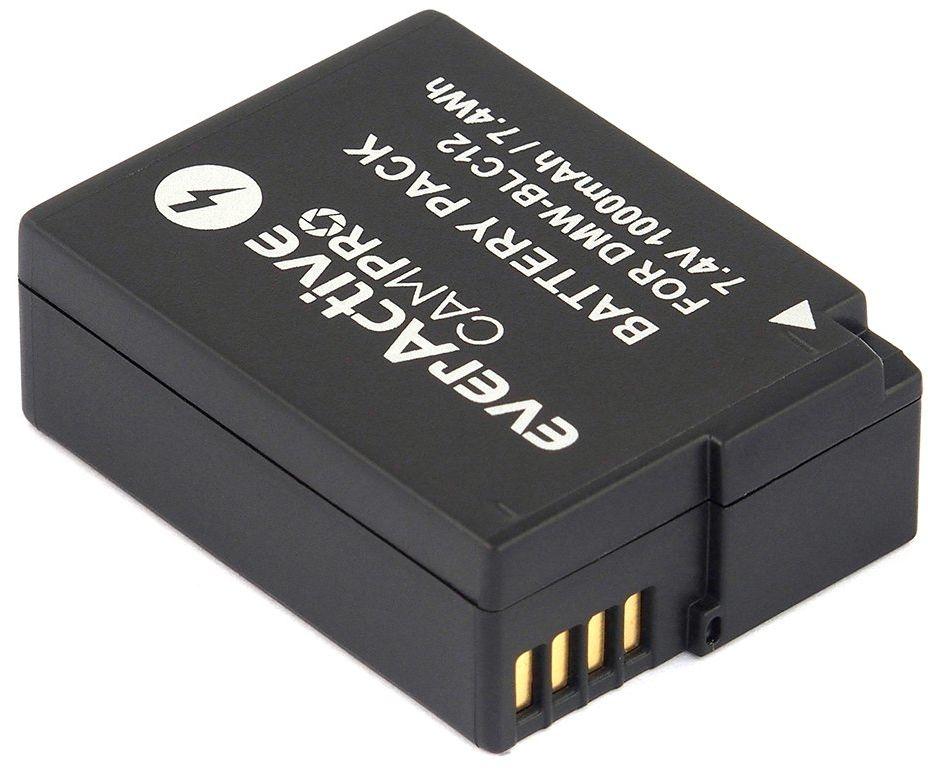 everActive CAMPRO zastępuje DMW-BLC12 PANASONIC, akumulator litowo-jonowy do aparatu zapakowany w blister, 7,4 V (kompatybilny z 7,2 V) min. 1000 mAh, model: EVB007