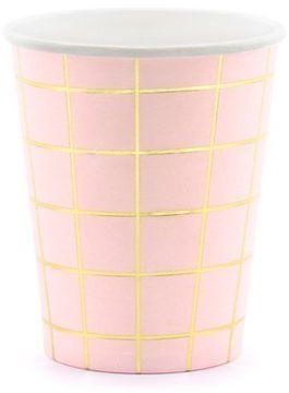 Różowe kubeczki papierowe złota Kratka 200ml 6 sztuk KPP45-081J