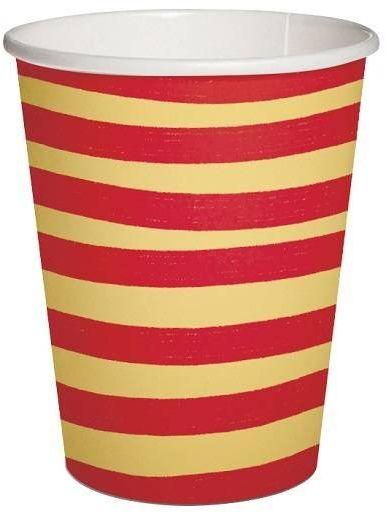 Kubeczki papierowe w paski żółto czerwone 250ml 10 sztuk PC1001303
