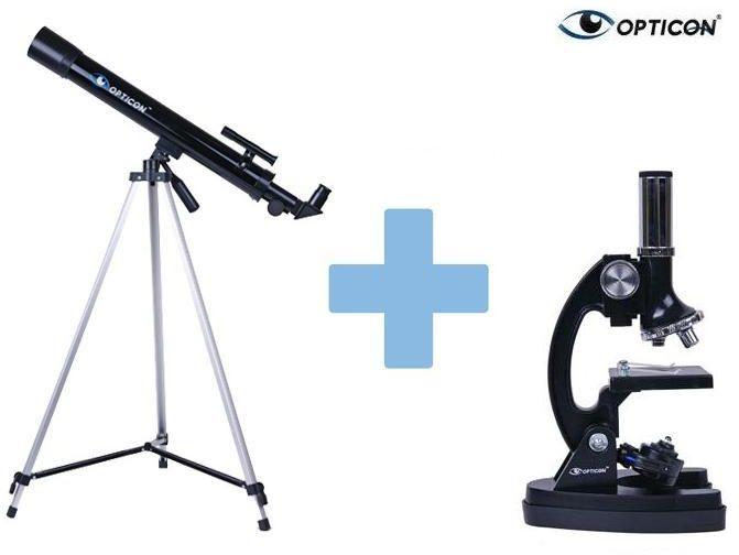 Zestaw Edukacyjny OPTICON: Teleskop Astronomiczny + Mikroskop + DVD + Mapy/Plakaty + Książka...