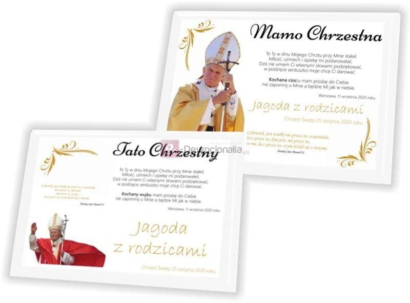 Podziękowanie dla Rodzciców Chrzestnych z motywem Jana Pawła II A5/A4