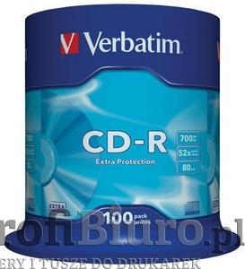 Płyty Verbatim CD-R 700MB 52x - CakeBox - 100szt. - EXTRAPROTECTION