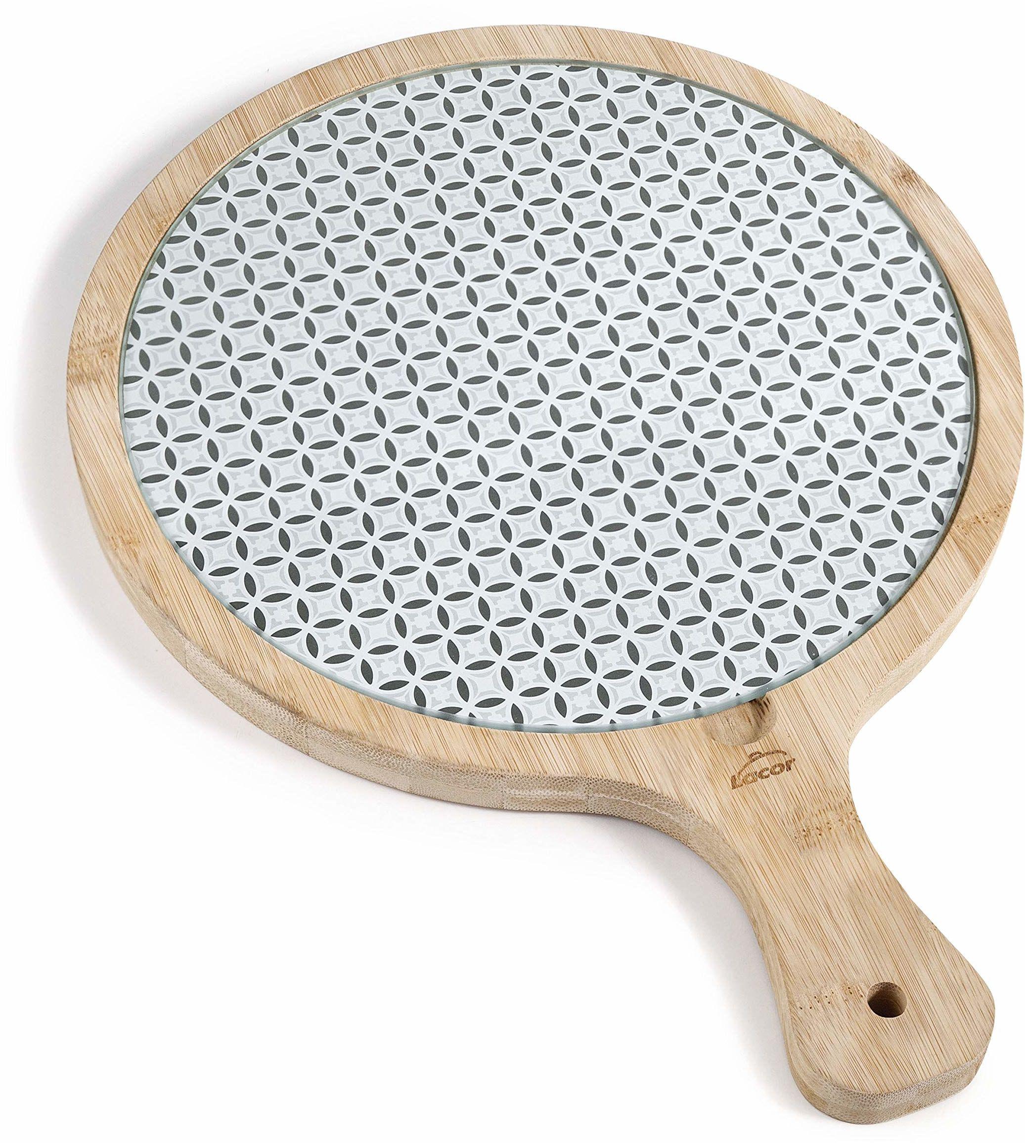 Szkło lakierowane i bambusowa deska okrągła