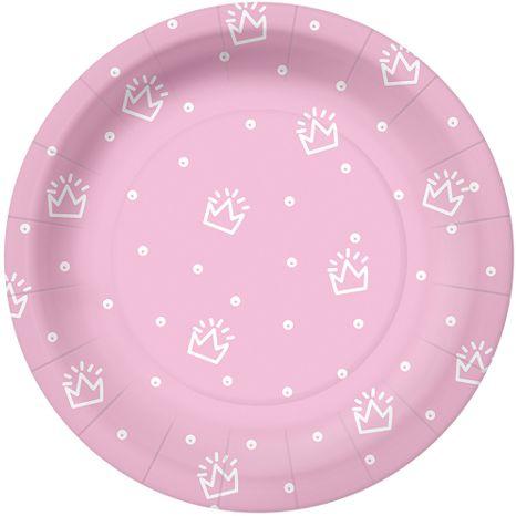Talerzyki papierowe w korony różowe 18cm 10 sztuk PPD1000304