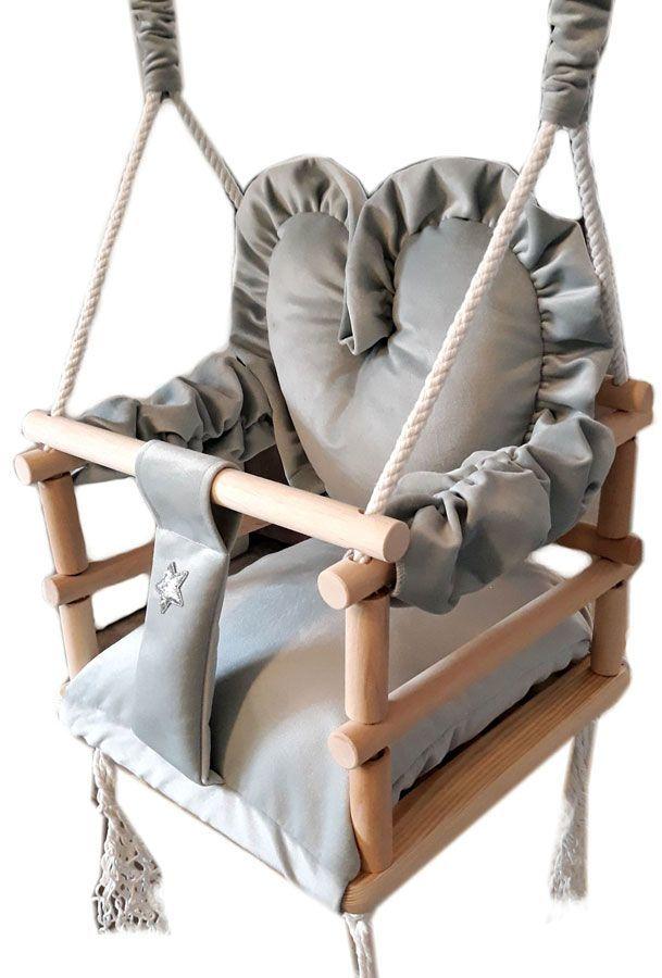 Szara huśtawka dla dziecka serce - Aurelia 3w1
