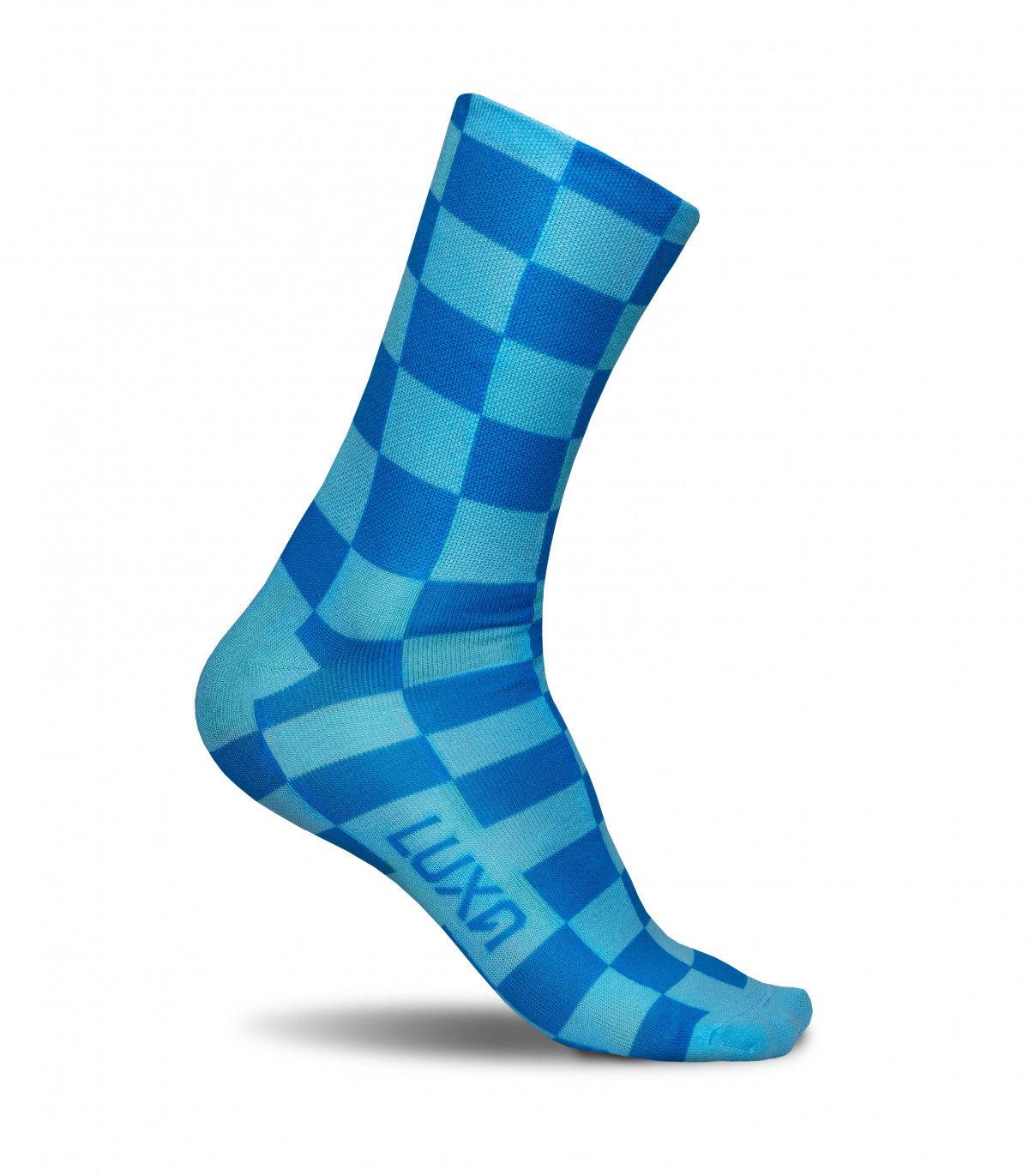 Kolorowe skarpety rowerowe SQUARES BLUE - niebiesko, szachownica