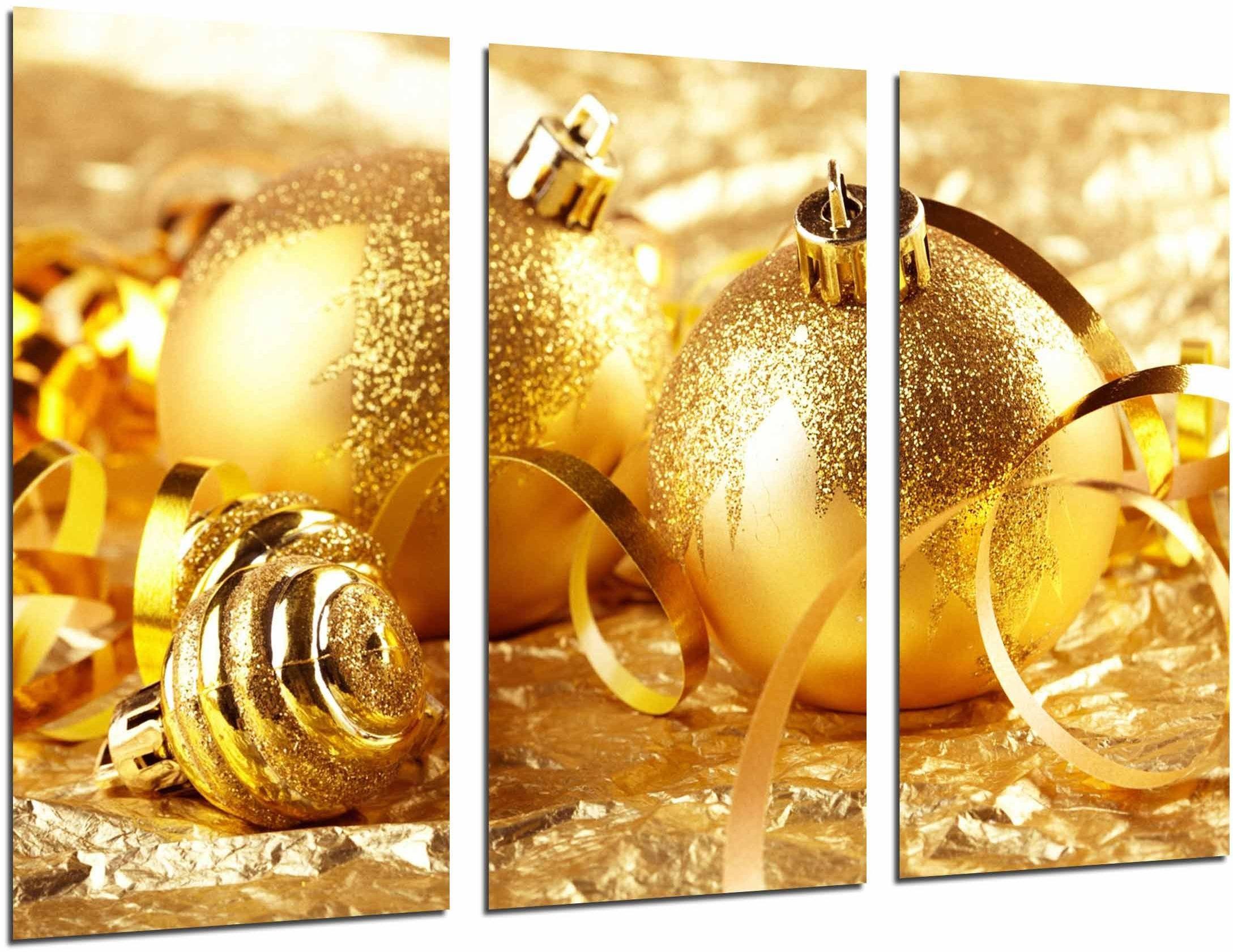 Obraz ścienny - złota dekoracja bożonarodzeniowa, bombki choinkowe, 97 x 62 cm, druk drewniany - format XXL - druk artystyczny, ref.26883