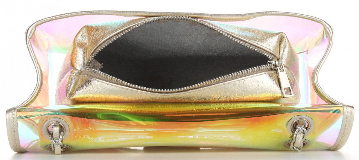 Vittoria Gotti Firmowa Torebka Damska Ekskluzywna Transparentna Listonoszka Made in Italy z Kosmetyczką Złota (kolory)
