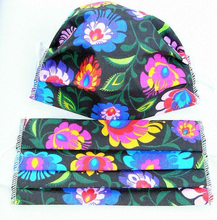 Maseczka maska ochronna na twarz łowicki Folk kwiatki kolorowe