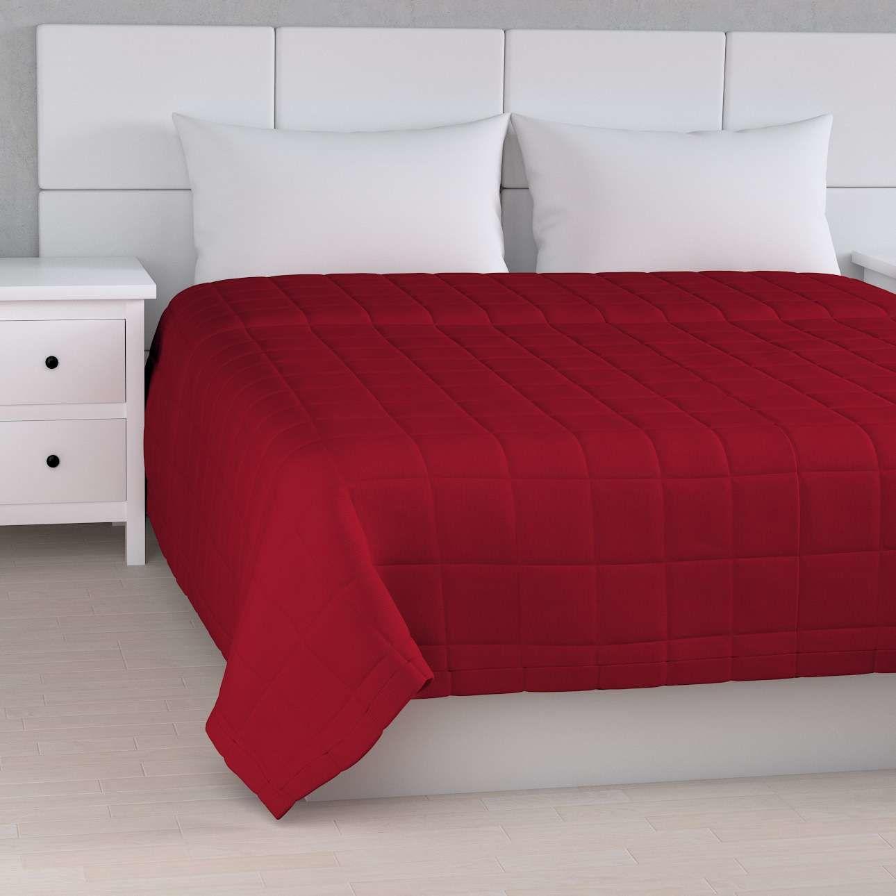 Narzuta pikowana w kratę, czerwony, szer.170  dł.210 cm, Etna