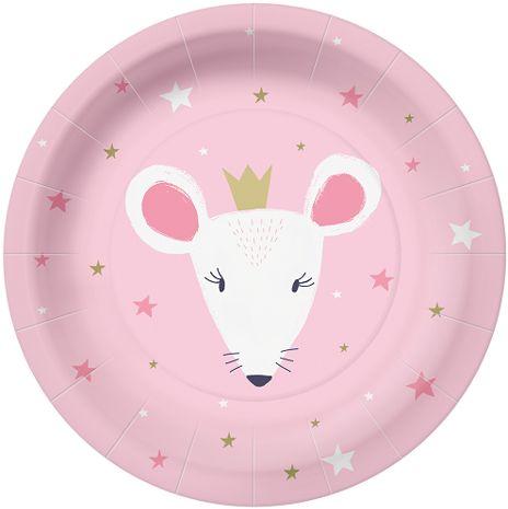 Talerzyki papierowe różowe myszka z koroną 23cm 10 sztuk PPL1000800
