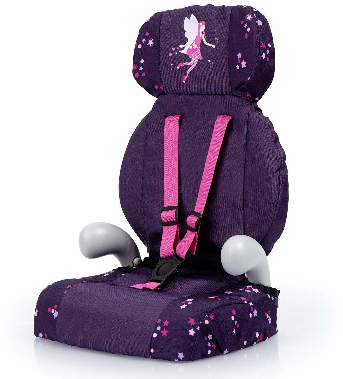 Bayer Design 67579AA Deluxe fotelik samochodowy, akcesoria dla lalek, zabawka dla chłopców i dziewcząt, z paskiem, fioletowy, z wróżką i wzorem