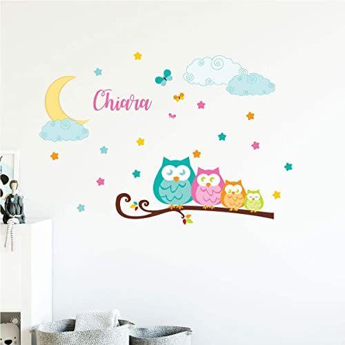 Spersonalizowana naklejka z imieniem, samoprzylepna, możliwość personalizacji, dekoracja ścienna do pokoju dziecięcego, 2 arkusze o wymiarach 30 x 40 cm i 50 x 30 cm, wielokolorowa